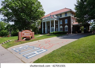 AMES, IA -25 MAY 2016- Fraternity and sorority houses with Greek letters on the campus of Iowa State University (of Science and Technology), a public research university located in Ames, Iowa.