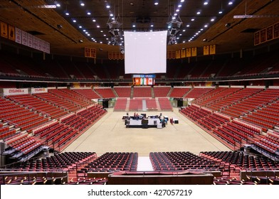 AMES, IA -25 MAY 2016- Inside the Hilton Coliseum sports arena stadium at Iowa State University (of Science and Technology), home of the Cyclones.