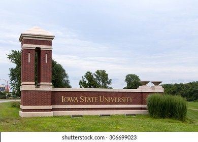 AMES, IA/USA - AUGUST 6, 2015: Entrance to Iowa State University. Iowa State is a research university in the United States.