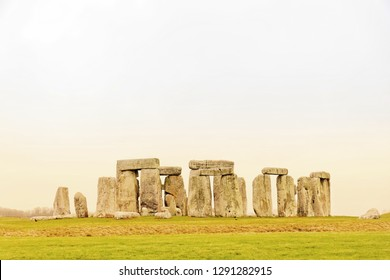 AMESBURY, GREAT BRITAIN - DEC 23, 2018: The stone monument Stonehenge built in the late Neolithic period, around 2500 BC for unknown reason. December 23, 2018 in Amesbury, Great Britain