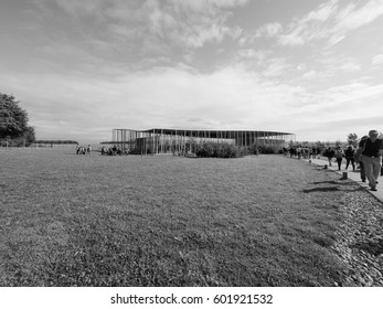 AMESBURY, UK - CIRCA SEPTEMBER 2016: Stonehenge visitor centre at the prehistoric megalithic stone monument in black and white