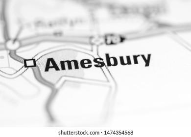 Amesbury. United Kingdom on a geography map