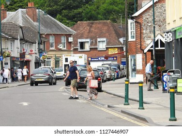 Amesbury, Wiltshire UK. July 5 2018. Residents go about their daily lives 4 days after a local couple, Charlie Rowley and Dawn Sturgess fall ill from novichok exposure at Charlie Rowley's nearby home