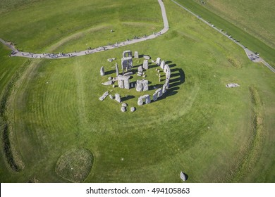 AMESBURY, WILTSHIRE, UNITED KINGDOM - OCTOBER 03, 2016: Aerial photograph of Stonehenge showing people visiting which is a UNESCO World Heritage Site in England.