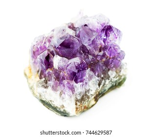 Amethyst crystal macro on white background. Mineral