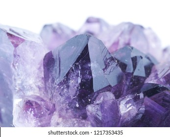 amethyst crystals on white background