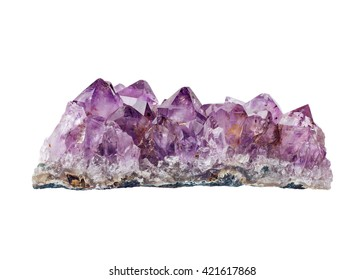 Amethyst druse close-up on white background - semiprecious gem used for jewels