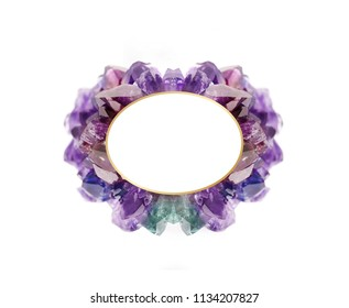 Amethyst frame isolated on white background, elegant and luxury natural gemstone on different colorful shades with golden border inside and clear space for your text.