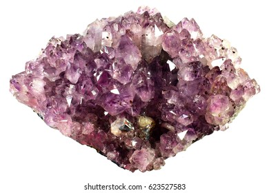 Amethyst mineral specimen, very beautiful crystals isolated on a white background.