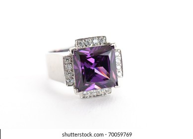 amethyst ring in silver isolated against a white background