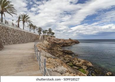 AMETLLA DE MAR, SPAIN-MAY 28,2013: Maritime promenade view of Ametlla de Mar, catalan village of Costa Daurada.