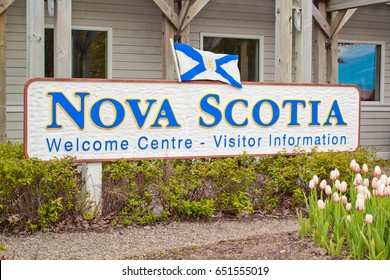 AMHERST, CANADA - MAY 31, 2017: Nova Scotia welcome sign. Nova Scotia is a maritime province of Canada with a population of approximately 922,000. Halifax is the capital of Nova Scotia.