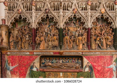AMIENS, FRANCE–AUGUST 07, 2014 : architectural details of  the gothic cathedral of Amiens, on august 07, 2014, in Amiens, France.
