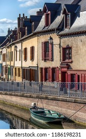Amiens. France. 06.01.12. Colorful old houses near the River Somme in the Saint-Leu quarter of the city of Amiens in the Picardy region of northern France.