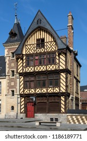 Amiens. France. 06.01.12. Old half timber building in the cathedral square in the city of Amiens in the Picardy region of northern France.