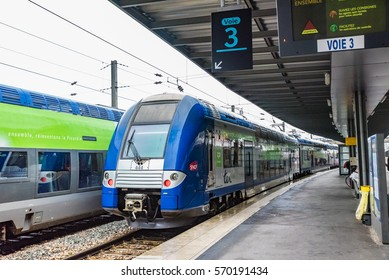 AMIENS, FRANCE - MAY 22, 2016: Trains of SNCF at Gare d'Amiens in Amiens, France. SNCF is France's national state-owned railway company and manages the rail traffic in France