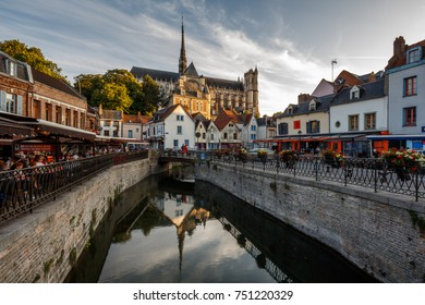 Amiens France, people enjoy dining at restaurants nearby the Cathedral, summer 2017