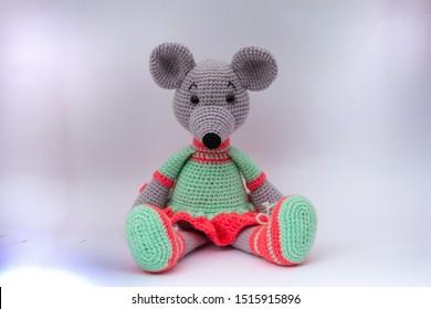 Amigurumi doll mouse handmade Green pink dress.