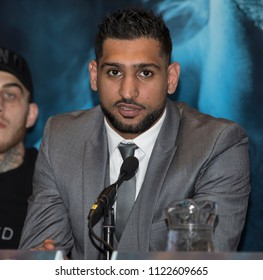 Amir Khan Press Conference, Barclaycard Arena, Birmingham, UK - 28th June 2018: Amir Khan during the press conference to announce Amir Khan v Samuel Vargas