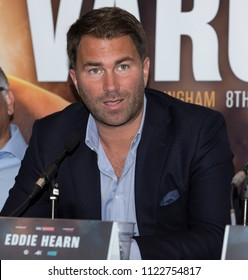 Amir Khan Press Conference, Barclaycard Arena, Birmingham, UK - 28th June 2018: Eddie Hearn during the press conference to announce Amir Khan v Samuel Vargas