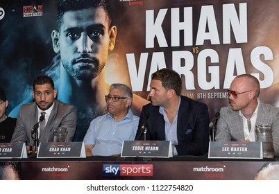 Amir Khan Press Conference, Barclaycard Arena, Birmingham, UK - 28th June 2018: Amir Khan (left), Shah Khan and Eddie Hearn during the press conference to announce Amir Khan v Samuel Vargas