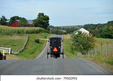 Amish buggy on a road in eastern Pennsylvania