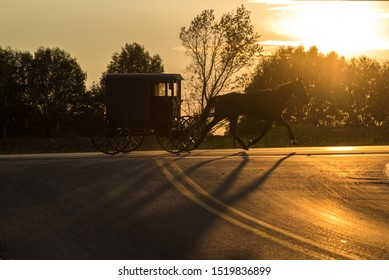 Amish Buggy riding down the road in Ronks, Pennsylvania