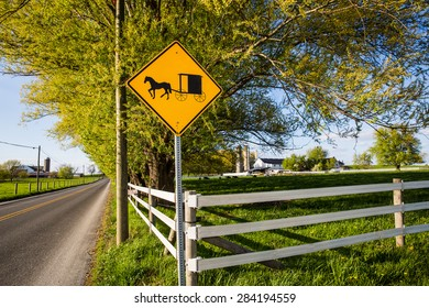 Amish buggy sign along roadway in rural Pennsylvania.