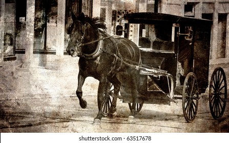 Amish horse and buggy being driven down a street, grunge textured..