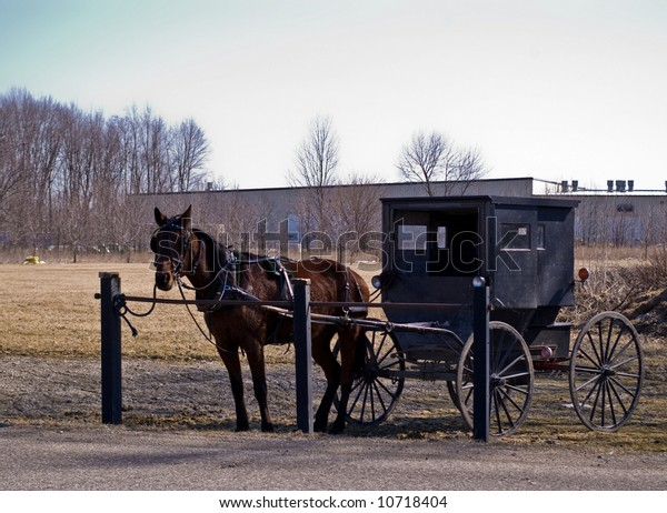 Amish Horse Buggy Hitching Post Stock Photo (Edit Now) 10718404