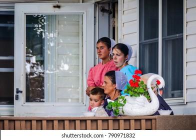 AMISH PENNSYLVANIA, USA - SEPTEMBER 16, 2017: Scene from an auction in Amish Country in Pennsylvania, USA