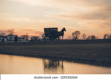 Amish sunset in Indiana