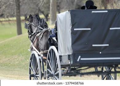 Amish traveling in horse and buggy