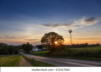 Amish windmill in Holmes County Sunset