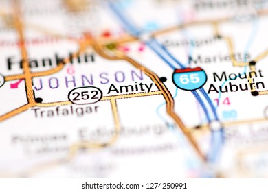 Amity. Indiana. USA on a geography map