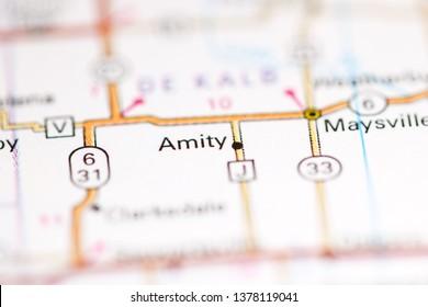 Amity. Missouri. USA on a geography map
