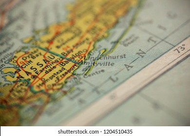 Amityville, New York is the center of focus on an old map.