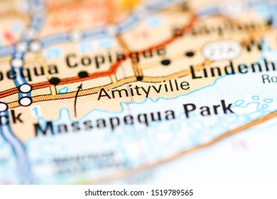Amityville. New York. USA on a geography map