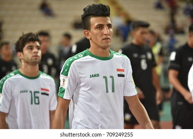 AMJED ATTWAN of IRAQ in action during the 2018 FIFA World Cup Asian Qualifiers Match Thailand and Iraq at Rajamangala Stadium on August 31,2017 in BANGKOK,Thailand.