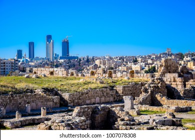 Amman Citadel with the modern newly built Abdali district in the background