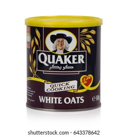 Amman , Jordan – 03/04/2016 quaker white oats can  isolated on white background on 3 April 2016 in Amman.