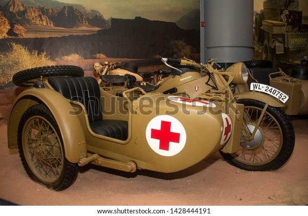 Amman, Jordan 17 June 2019 - Zundapp classic motorbike of war in Royal Automobile Museum in Amman in Jordan