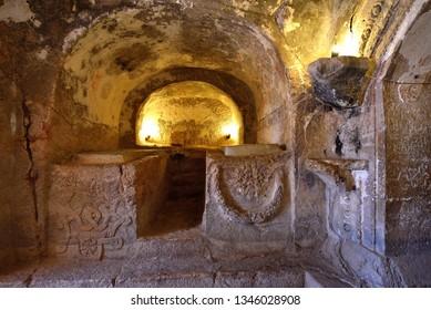 Amman, Jordan - 28 September 2018 : Inside Famous Historical Cave Of The Seven Sleepers