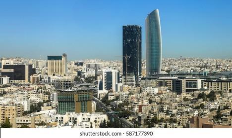 Amman, Jordan – 29/10/2016 : The new downtown of Amman with modern skyscrapers on 29/10/2016 in Amman