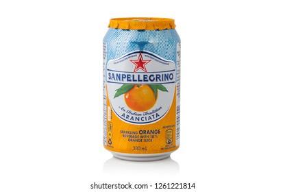 Amman, Jordan – April 12: Sanpellegrino Sparkling orange juice can isolated on white background on 12/04/2016 in Amman