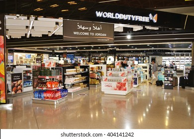 Amman, Jordan - April 8, 2016: Queen Alia International Airport duty free area. QAIA is one of the good ranked airports in the Middle East.