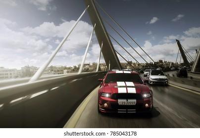 Amman, Jordan – August 15 : Ford Mustang Shelby Sport car on Abdoun bridge on 15/08/2014 in Amman