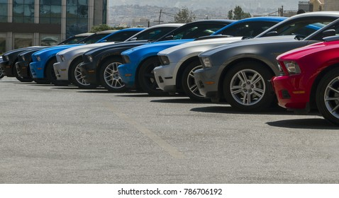 Amman, Jordan – August 15 : Ford mustang different models and colors  on 15-08-2014 in Amman