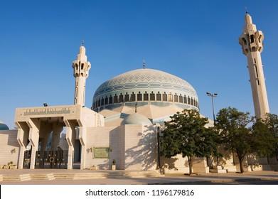 Amman, Jordan - August 18, 2012: King Abdullah Mosque against the blue sky in Amman, Jordan.