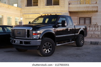Amman, Jordan – august 18: Black ford F250 super duty on 18/08/2017 in Amman